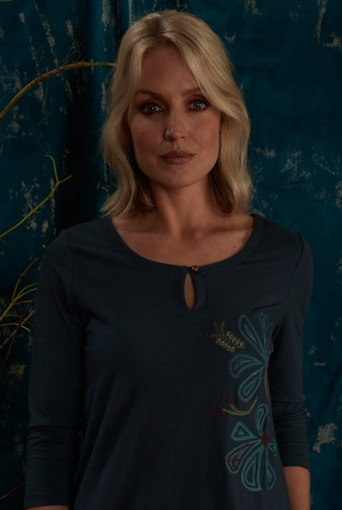 Deep Sea Fair Trade Ethically Made Tunic Dress with Embroidery