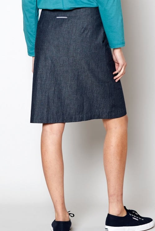 Dark Chambray Fitted Chambray Skirt