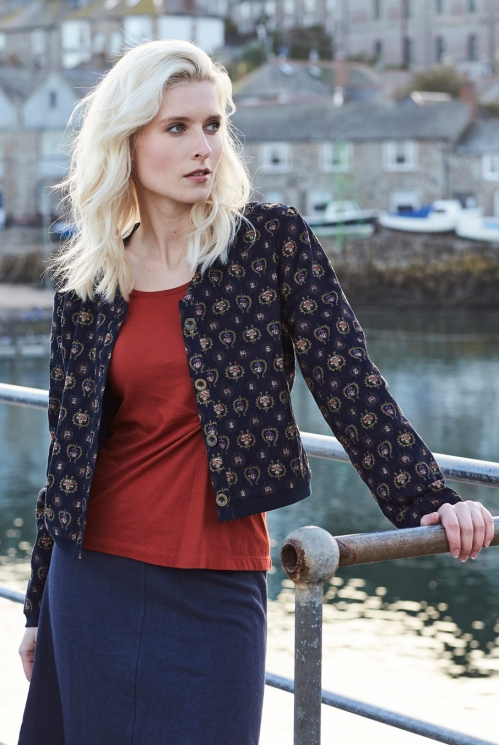 Printed Bomber Jacket in Cotton Needlecord xtra view of Navy