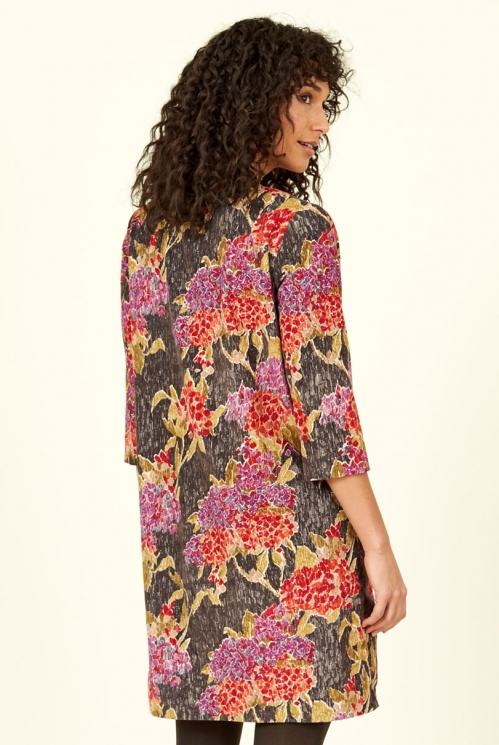 Chocolate Floral Cotton Cord Tunic Dress