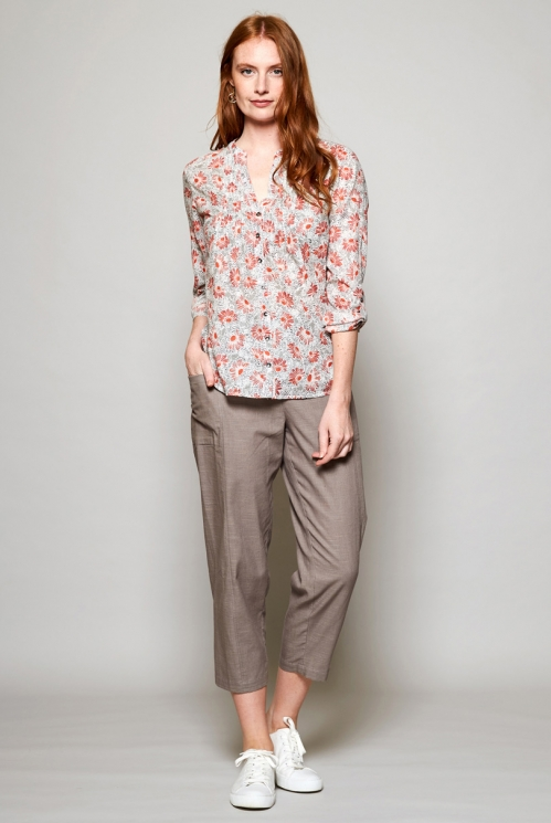 White Sustainable Floral Print Cotton Shirt