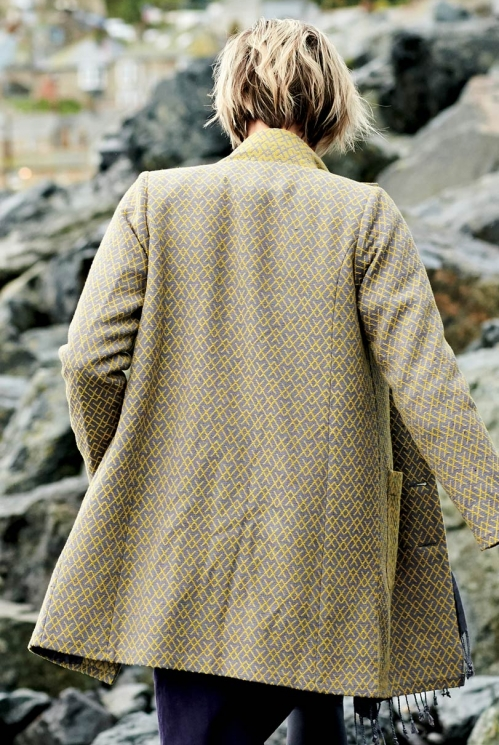 Lemongrass Funnel Neck Handloom Coat