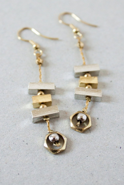 Gold Fair Trade Geometric Block Earrings