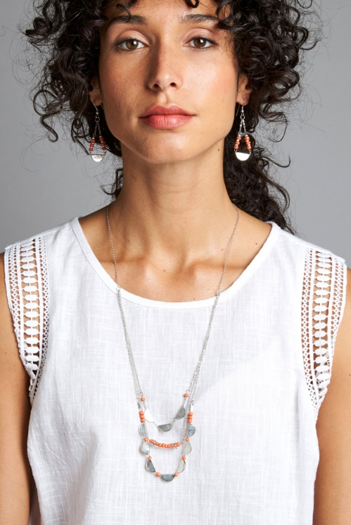 Papaya Orange Sustainable Half-Moon Necklace
