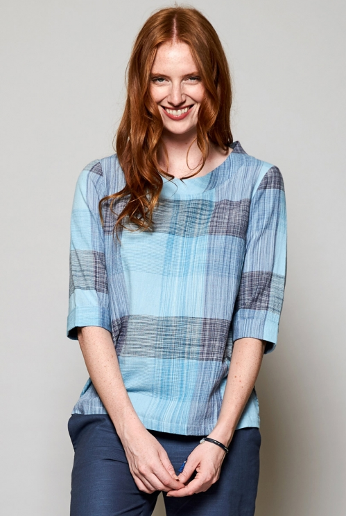 Sky Blue Ethically Made Handloom Cotton Boxy Top