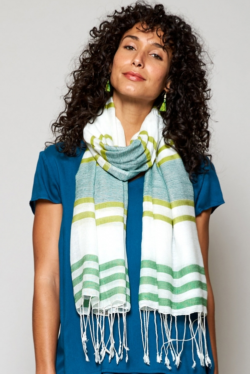 Leaf Green Ethically Made Handloom Twin Stripe Scarf