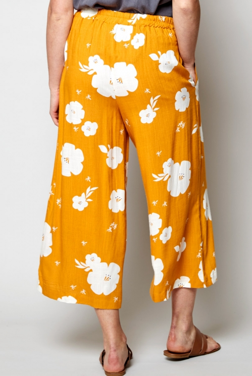 Sunflower Hibiscus Cropped Wide Leg Trousers