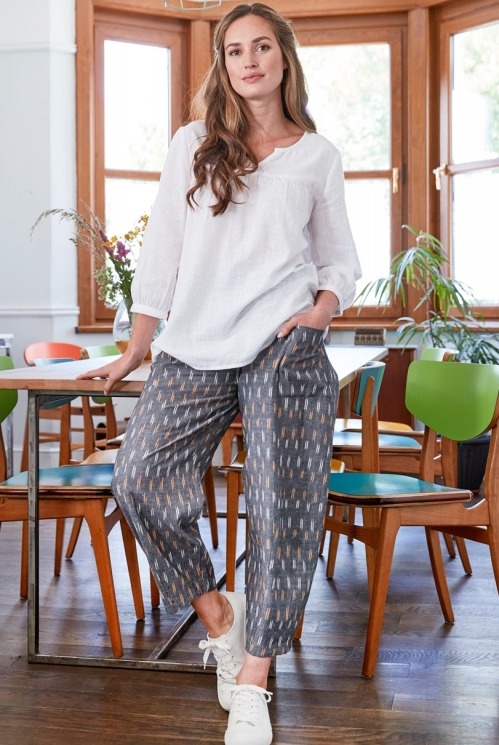Grey Ikat Relaxed Crop Trouser