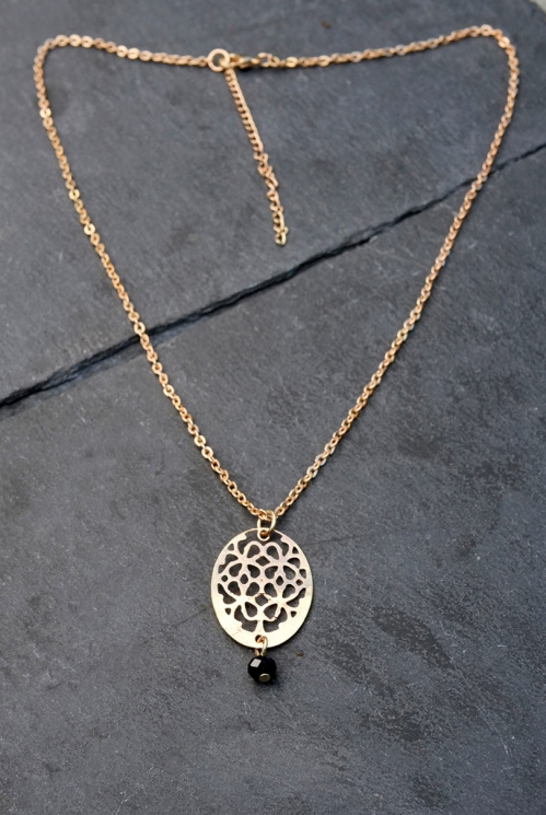 rose Etched Pendant Necklace