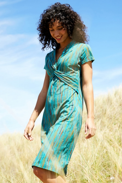 Sea Blue Sustainable Knot Front Organic Cotton Dress
