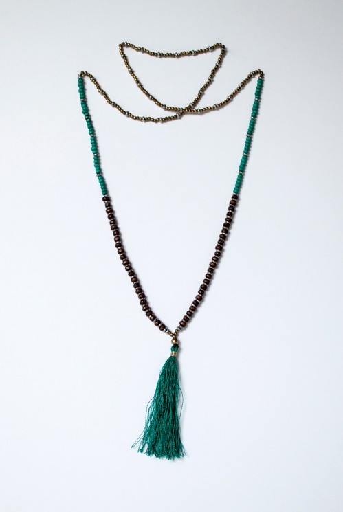 Teal Large Tassle Necklace