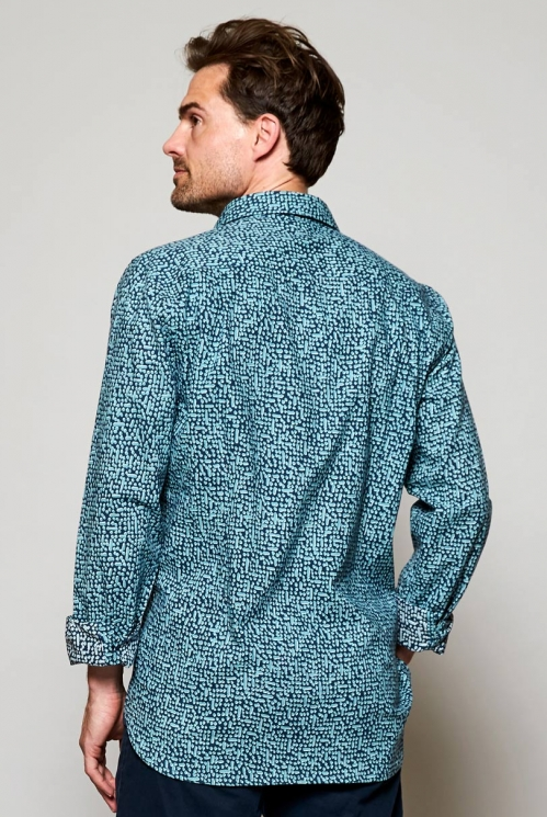 Storm Blue Fair Trade Long Sleeve Cobble Print Cotton Shirt