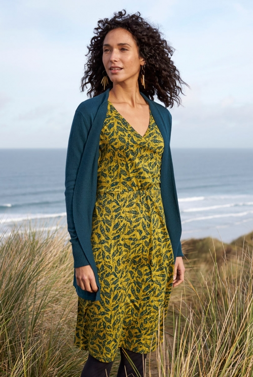 Citrine Long Sleeve Organic Cotton Crossover Wrap Dress