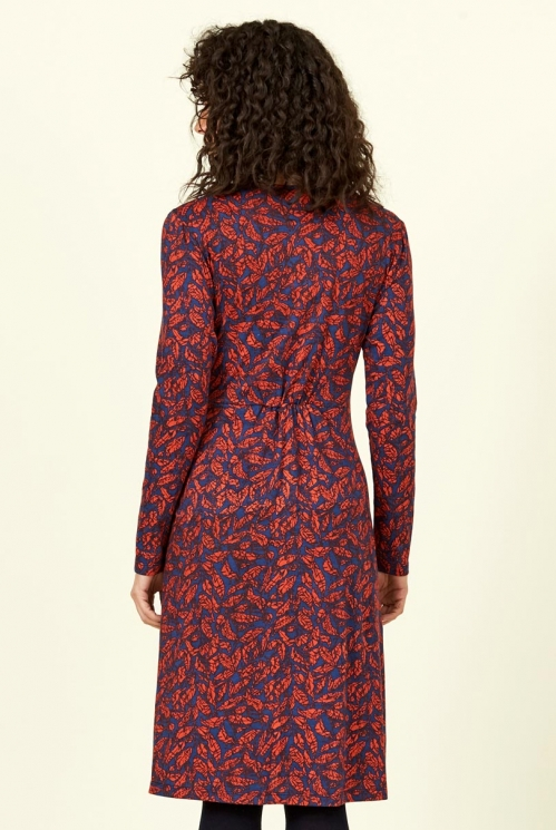 Saffron Long Sleeve Organic Cotton Crossover Wrap Dress