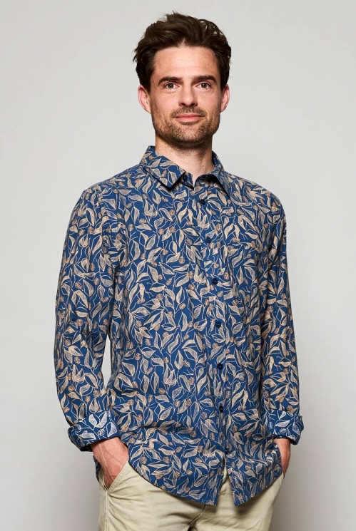 Storm Blue Ethically Made Long Sleeve Sundowner Print Cotton Shirt