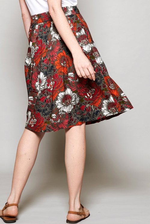 Rhubarb Red Sustainable Lyocell Petal Pleated Skirt with Pockets