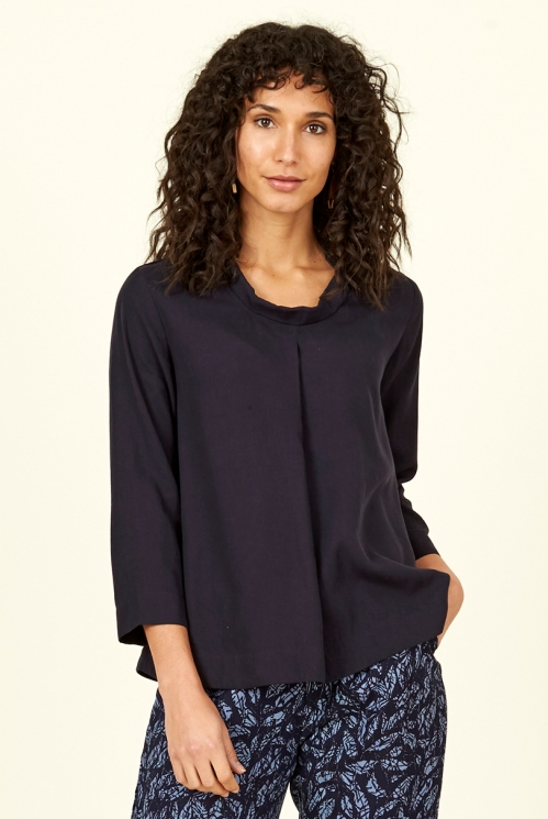 Navy Blue Lyocell Pleat Front Top