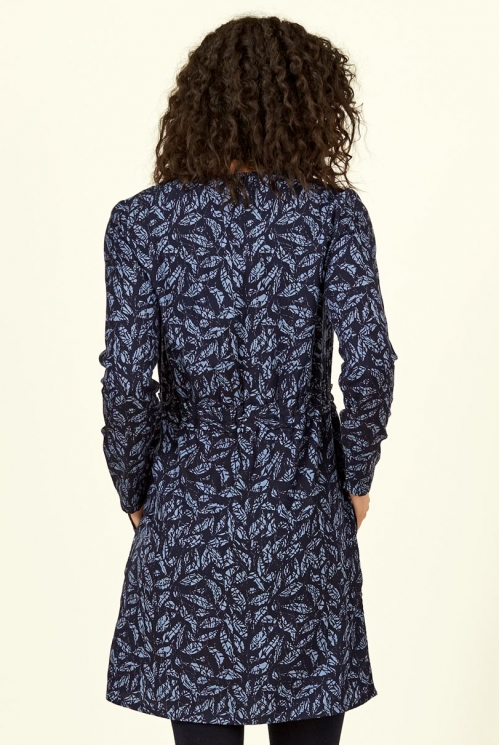 Navy Blue Lyocell Ruched Waist Tunic Dress