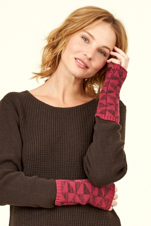 Damask Merino Wool Kite Knit Fingerless Gloves