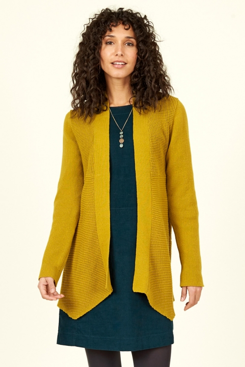 Citrine Merino Wool Waterfall Cardigan