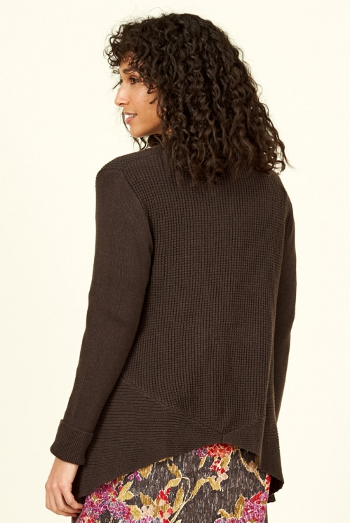 Chocolate Merino Wool Waterfall Cardigan