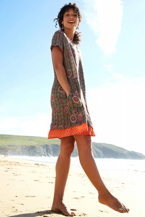 Clay Brown Sustainable Zanzibar Tunic Dress with Pockets