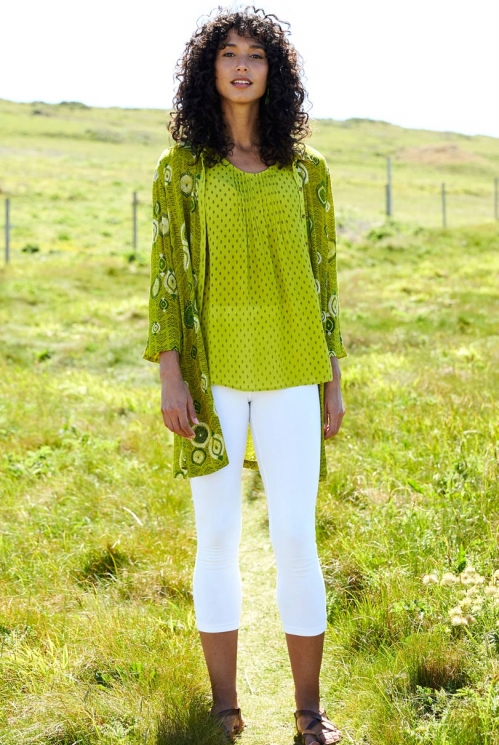 Citrus Green Sustainable Zanzibar Longline Tunic Shirt