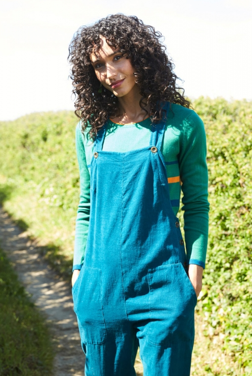 Teal Blue Sustainable Needlecord Dungarees