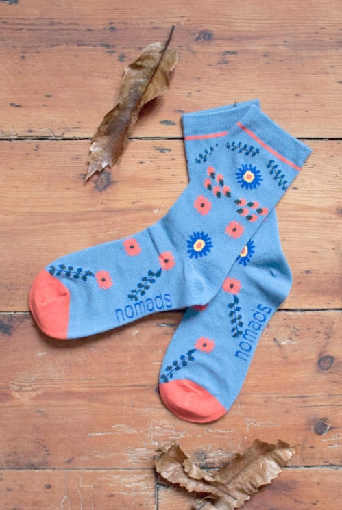 Sea Blue Organic Cotton Bloomsbury Socks