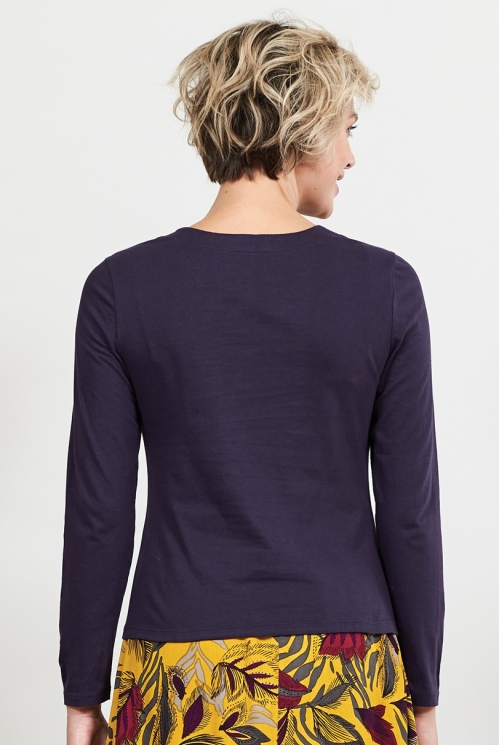 Aubergine Sustainable Organic Cotton Cowl Neck Top