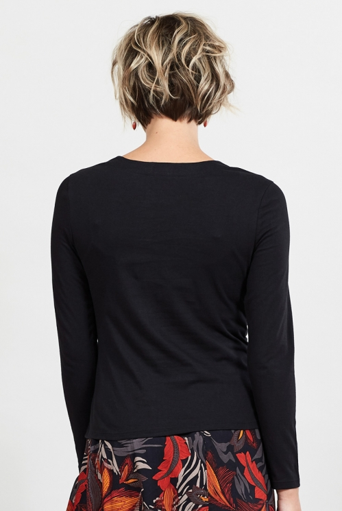 Black Ethically Made Organic Cotton Cowl Neck Top