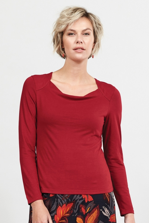 Claret Fair Trade Organic Cotton Cowl Neck Top