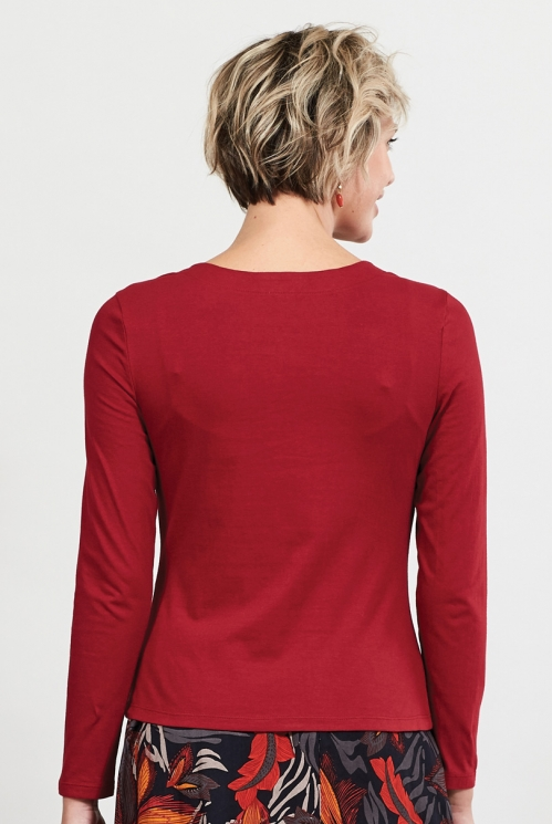 Claret Organic Cotton Cowl Neck Top