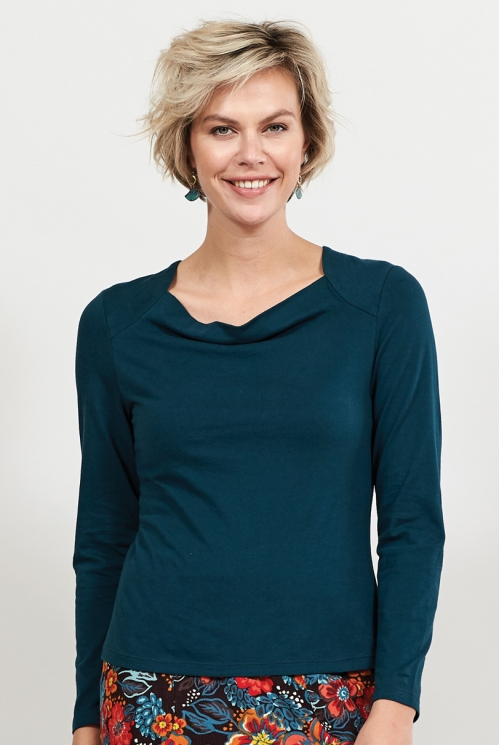 Myrtle Organic Cotton Cowl Neck Top