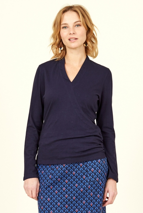 Navy Blue Organic Cotton Crossover Top