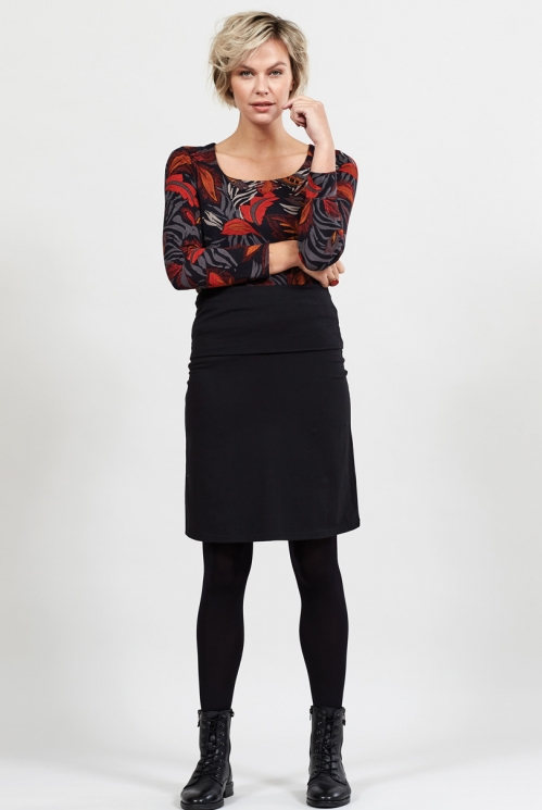 Black Organic Cotton Fold Over Waistband Skirt