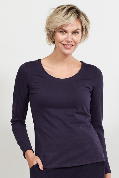 Aubergine Organic Cotton Long Sleeved Top
