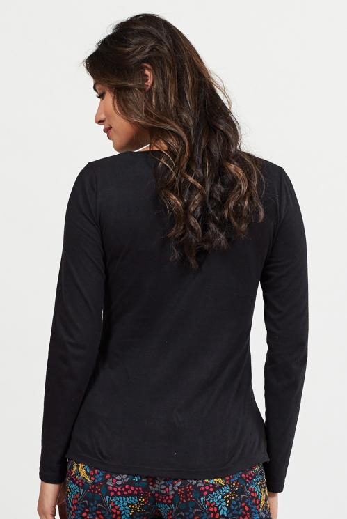 Black Organic Cotton Long Sleeved Top
