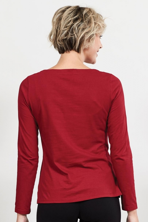 Claret Organic Cotton Long Sleeved Top