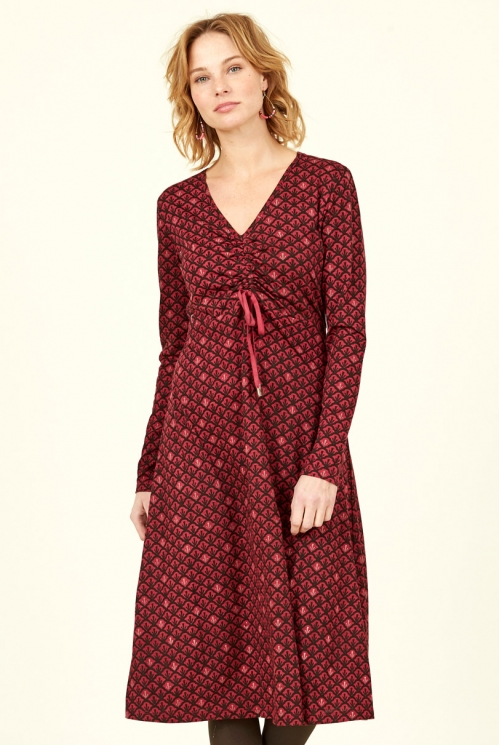 Damask Organic Cotton Ruched Front Dress