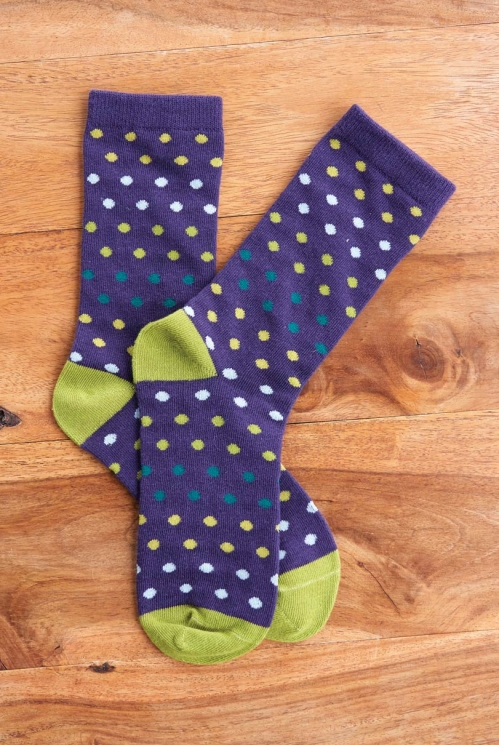 Aubergine Fair Trade Organic Cotton Spotty Socks