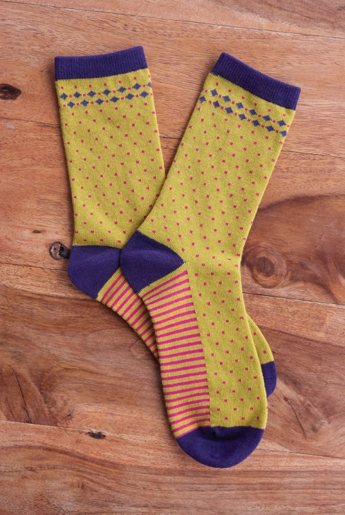Dahl Organic Cotton Stripe and Spot Socks