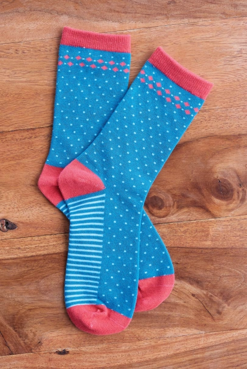 Mallard Organic Cotton Stripe and Spot Socks