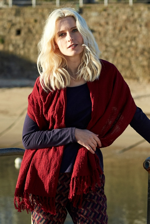 Plain Textured Scarf in 100% Textured Cotton xtra view of Merlot