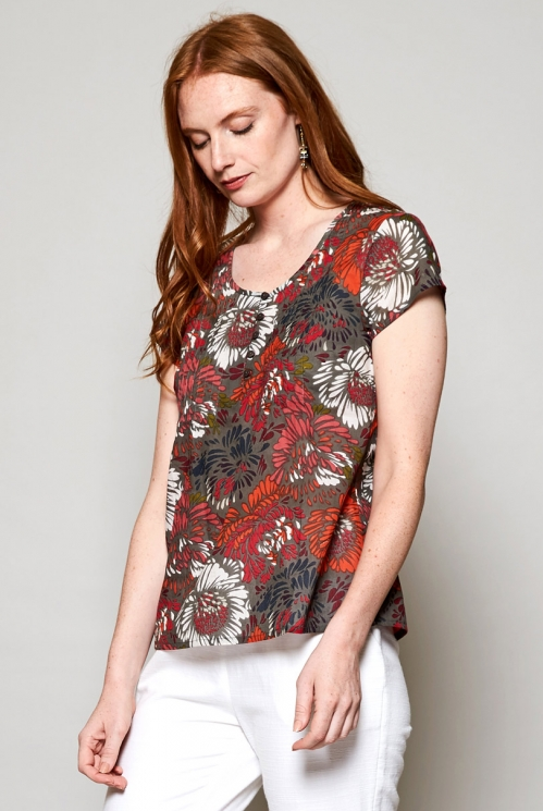Rhubarb Red Fair Trade Petal Cotton Summer Blouse