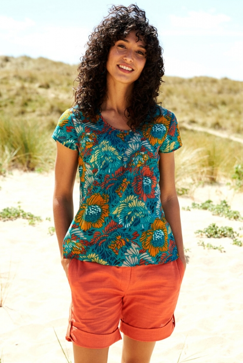 Turquoise Blue Sustainable Petal Cotton Summer Blouse
