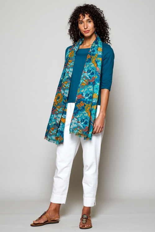 Turquoise Blue Ethically Made Petal Viscose Scarf