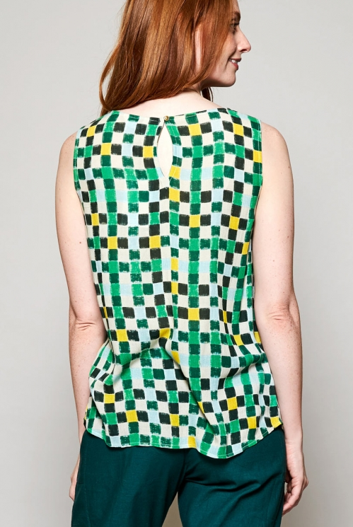 Leaf Green Fair Trade Pintuck Detail Viscose Vest