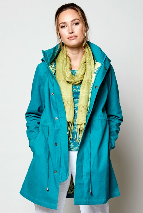 Lagoon Plain Organic Cotton Canvas Raincoat
