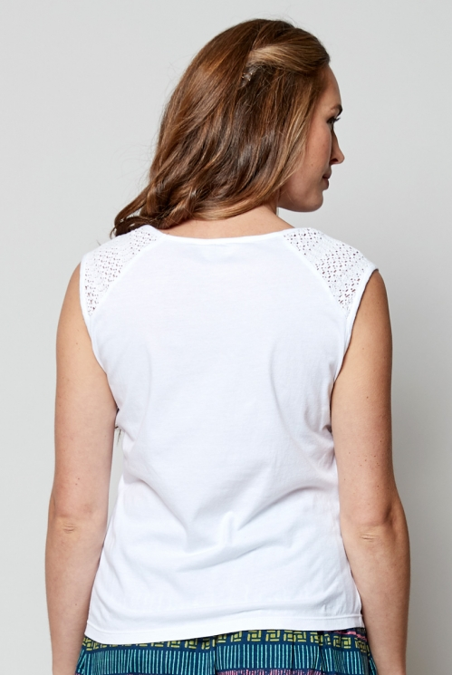 White Plain Organic Cotton Crochet Trim Vest